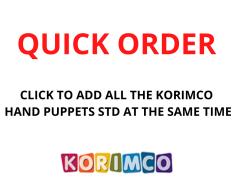 QUICK ORDER - KORIMCO HAND PUPPET STD