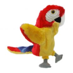 HAND PUPPET L/TAIL RED PARROT 25CM